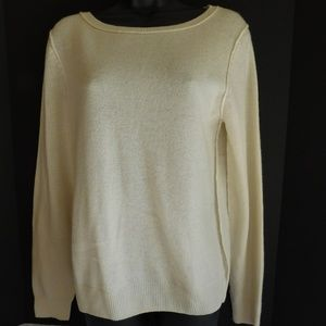 NEIMAN MARCUS 100% CASHMERE CREAM SWEATER